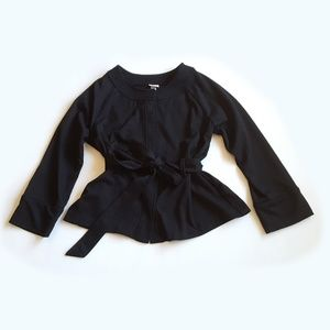 Merona Cropped Black Jacket With Belt Size M